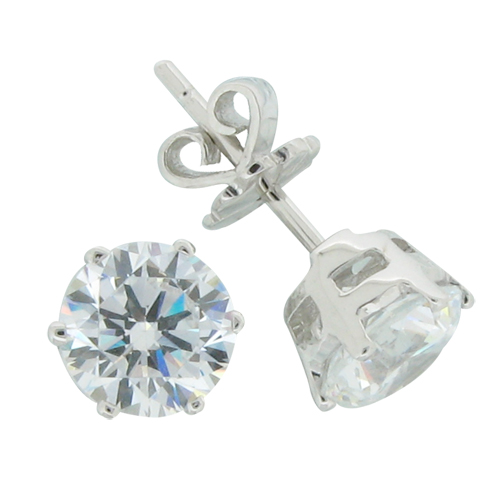 Brilliant 2 carat (6.75mm) Diamond Simulant prong set Stud Earrings in both 14k and 18k White Gold or Silver with White Gold Plated by Desert Diamonds