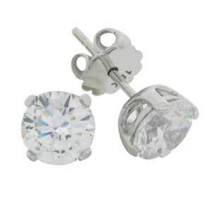 a51d2373d Brilliant 2 carat Diamond prong set Stud Earrings in Silver with White Gold  Plating from Desert