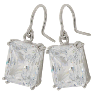 11ct radiant cut diamond simulant shepherd hook drop earrings
