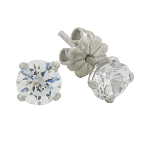 Brilliant 1 carat (5.25mm) Diamond V-shaped Stud Earrings in Silver White Gold Plated by Desert Diamonds