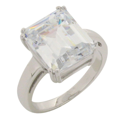 Baguette 11 carat Solitaire Diamond Simulant Ring with Double Prong setting in Silver with White Gold Plating by Desert Diamonds