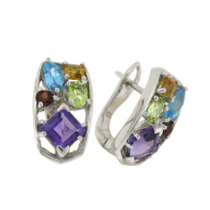 Mixed Cut and mixed stone Blue Topaz/Citrine/Peridot/Amethyst prong set Stud Earrings in Silver with White Gold Plating by Desert Diamonds
