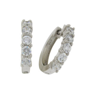 Brilliant 0.18ct (3mm) x5 Diamond Simulant Hoop Earrings in Silver with White Gold Plating by Desert Diamonds