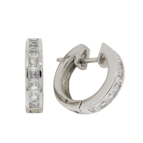 Brilliant 0.06 carat times 8 Diamond Simulant Channel Set Hoop Earrings in Silver with White Gold Plating by Desert Diamonds