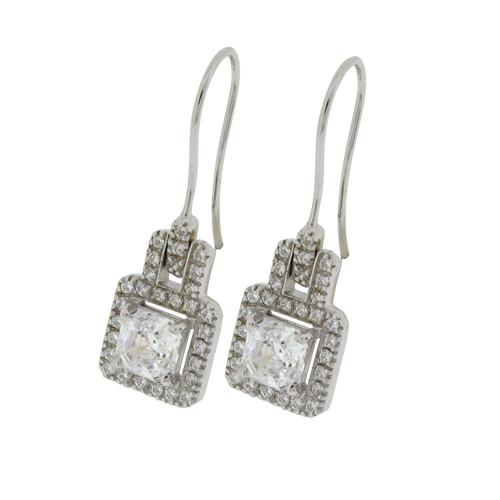 Princess 2.5 carat (6 times 6mm) surrounded by small Brilliant Diamond Simulants, prong set, Shepherd Hook Drop in Silver with White Gold Plating by Desert Diamonds