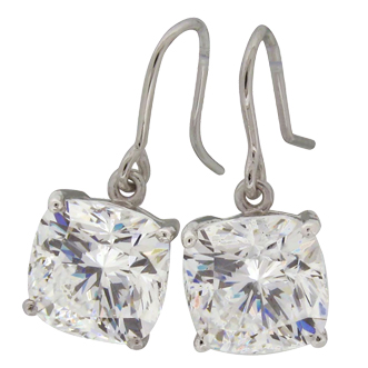 Cushion 8.5 carat (10mm) Diamond Simulant, prong set Shepherd Hook Drop Earrings by Desert Diamonds