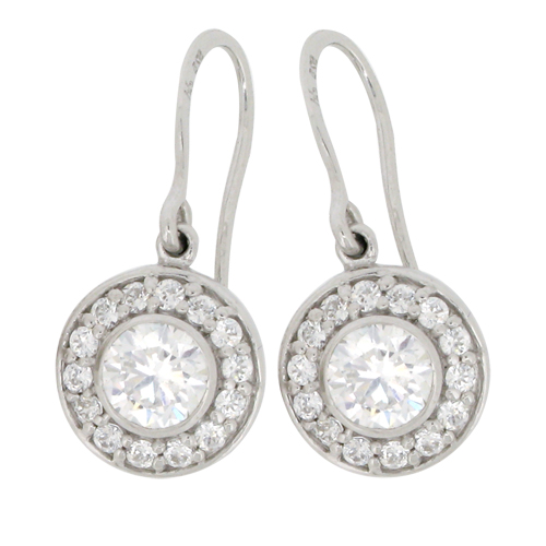 Brilliant 1.5 carat surrounded by Brilliant Diamond Simulants bezel set Shepherd Hook Drop in Silver with White Gold Plating by Desert Diamonds