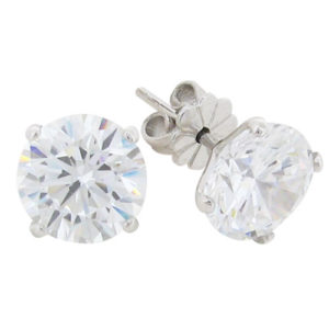 bfaca55db Brilliant 3.5 carat Diamond V-shaped Stud Earrings in Silver with White  Gold Plating by
