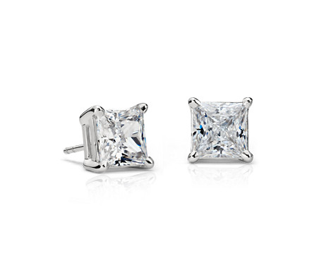 best selling princess cut solitaire diamond simulant stud earrings