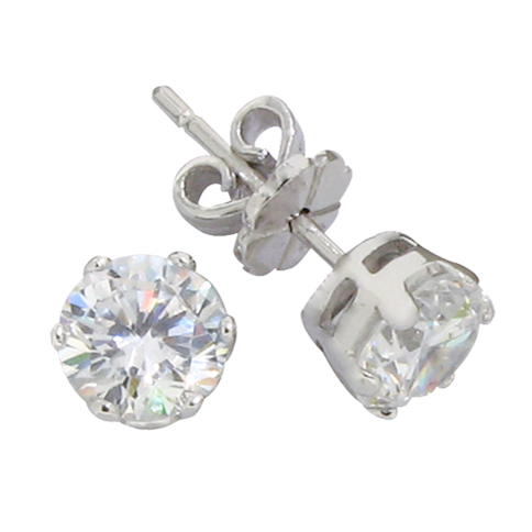 Brilliant 1.5 carat 6 millimeter Diamond Simulant prong set Stud Earrings in silver