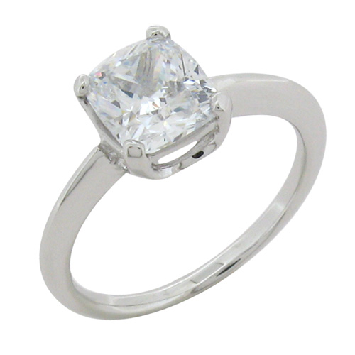 Cushion cut diamond simulant solitaire engagement ring