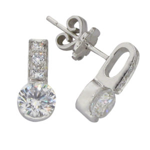 Brilliant 1 carat 5.25 millimeters Diamond semi bezel set Stud Earrings in Silver