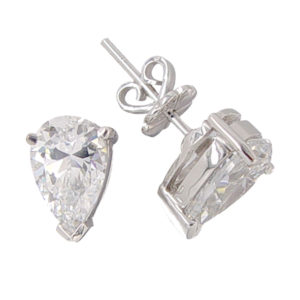 Teardrop 2 carat 6x9 millimeter Diamond Simulant prong set Stud
