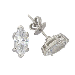 a675a0aac 6 Prong Marquise Stud Earring. ฿2,300. Brilliant 1.5 carat 6 millimeter  Diamond Simulant prong set Stud Earrings in silver