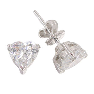 Heart 2 carat 7 x 7 millimeters Diamond Simulant prong set Stud Earrings in Silver