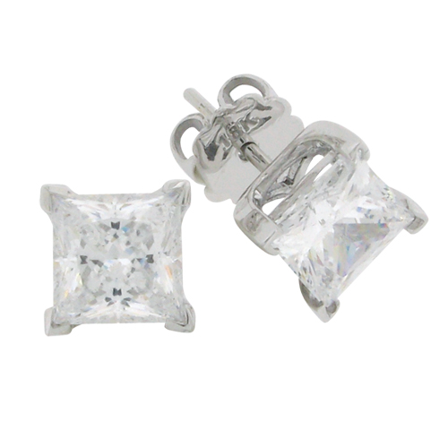 Princess 3 carat 6.5 x 6.5 millimeter Diamond Simulant 4-prong set Stud Earrings Sterling Silver