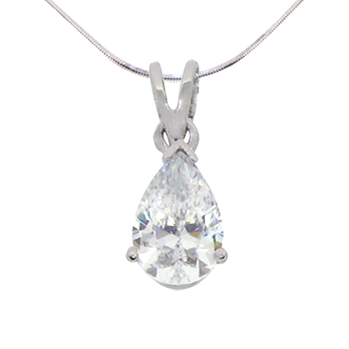 tear drop solitaire diamond simulant pendant