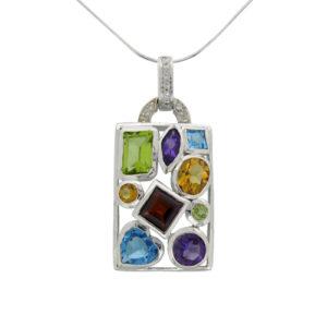 mixed coloured mulit cut drop pendant