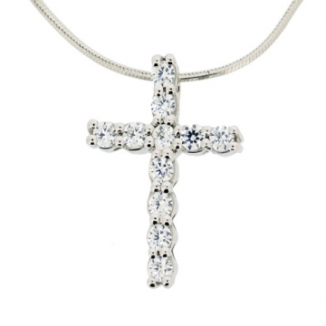 Traditional cross pendant with 11 diamond simulants set in silver with