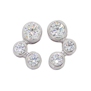 Brilliant Bubble 0.5carat 4.25millimeter Diamond Simulant bezel set Stud Earrings in Silver with White Gold Plating