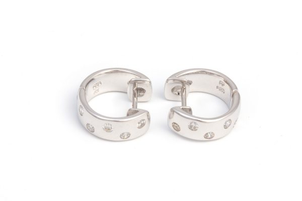 Brilliant small Diamond Simulants embedded Hoop Earrings in Silver with White Gold Plating