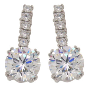 Brilliant 6 carat 10millimeter  Diamond Simulant with 5 Brilliant Diamond Simulant on post 4 prong set Drop Stud Earrings