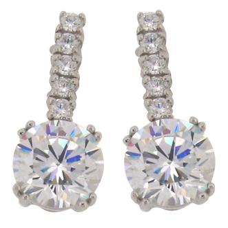 Brilliant 6 carat 10millimeter Diamond Simulant with 5 Brilliant Diamond Simulant on post 4 prong set Drop Stud Earrings