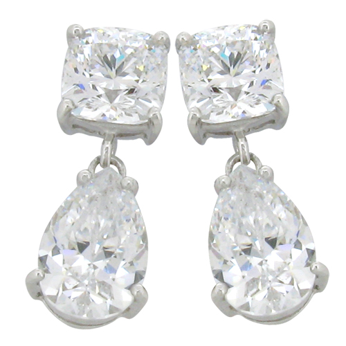 Cushion 4.5 carat  8 x 8 millimeter Diamond Simulant with 5 carat  8 x 12 millimeter Tear drop prong set Drop Stud Earrings in Silver