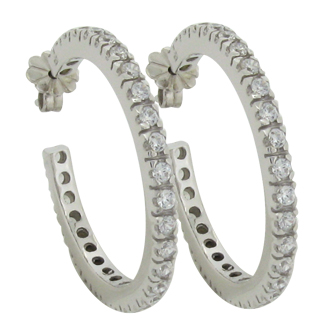Brilliant Small carat 1.8 millimeter Diamond Simulant prong set Hoop Earrings in Silver
