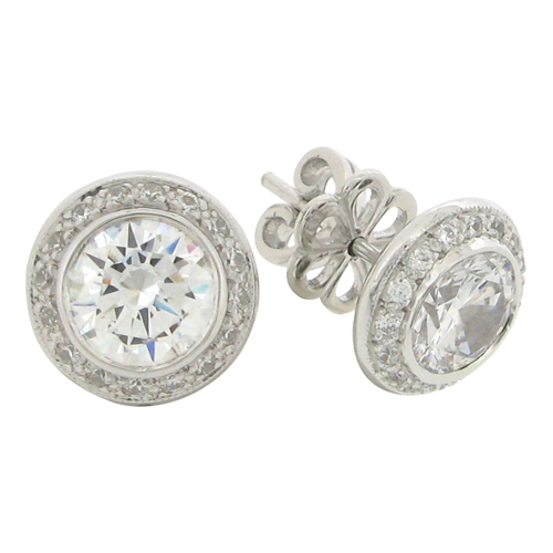 Brilliant 2 carat  6.75 millimeter surrounded by Brilliant Diamond Simulant bezel set Stud Earrings in Silver