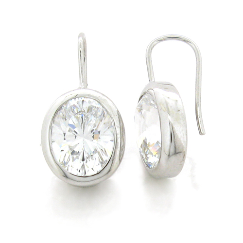 Oval 4 carat  8 x 10 millimeter Diamond Simulant bezel set Shepherd Hook Drop in Silver