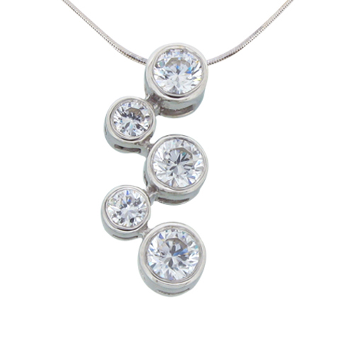 Bubble bezel set round diamond simulant sterling silver pendant 5 stones