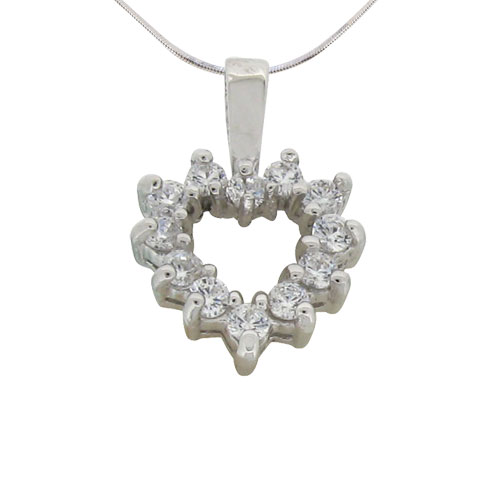 delicate sweet heart prong set diamond simulant pendant in sterling silver with white gold plating