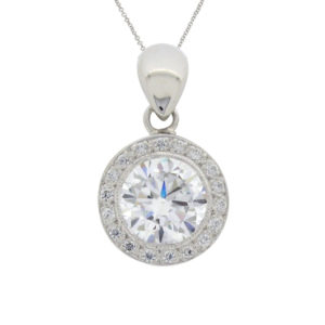 halo diamond simulant bezel set pendant