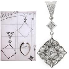 sketch design of a bespoke pendant