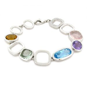 very modern multi coloured and mixed cut stone bracelet