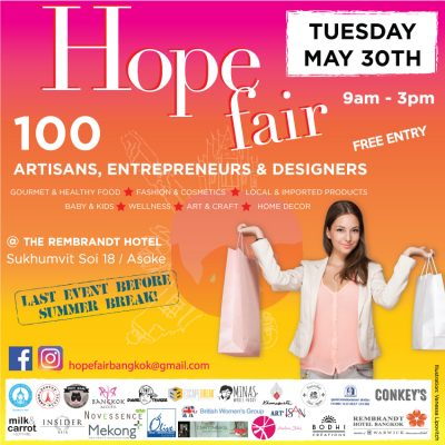 Flyer for Hope Fair in Bangkok on Tuesday May 30th