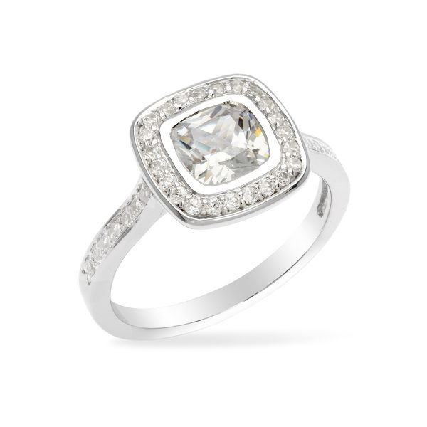 square Antique bezel set ring with sparkling diamond stone