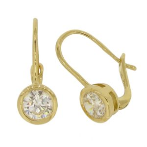 Brilliant Cut 5.25 millimeter diamond simulant in a Bezel Set Hook Drop Solid Yellow 18 and 14 carat Gold Earrings