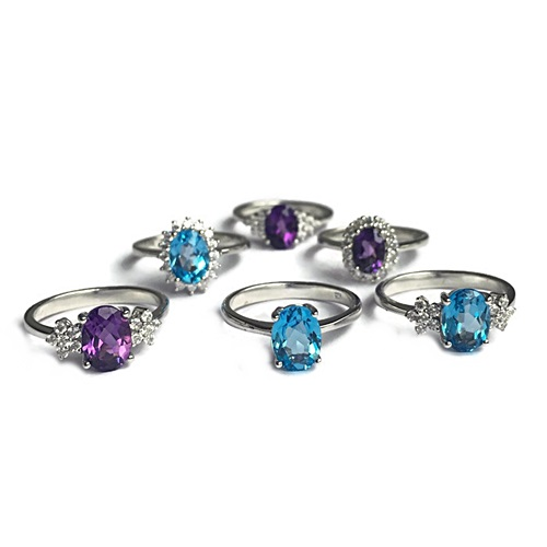 semi precious gem stones rings blue citrine and amethyst