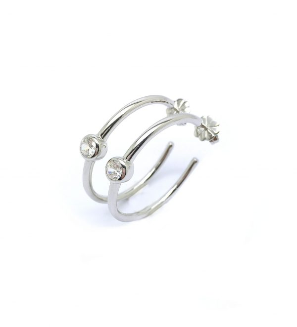 Cuff earrings, loop design with 0.5 carat (4.25mm) Diamond simulant in bezel set. Diameter 28mm