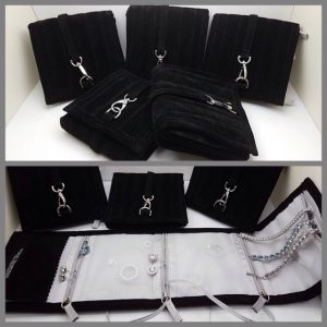 Jewelry travel pouch split image showing 5 pouches closed and one open demonstrating how to hold the elegant fine jewelry