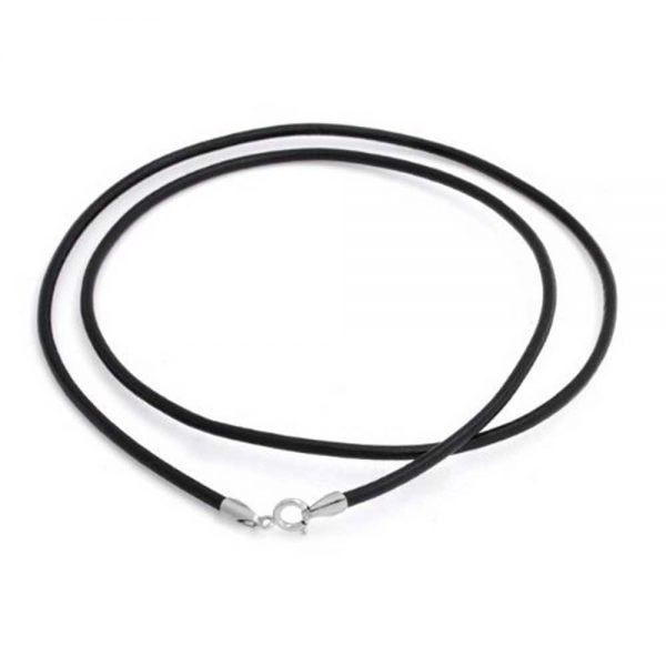 black cord 'chain' with silver clasp