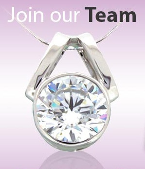 """fantastic business opportunity adverstising """"join our team"""" with a gorgeous diamond pendant underneath the text """"join our team"""""""