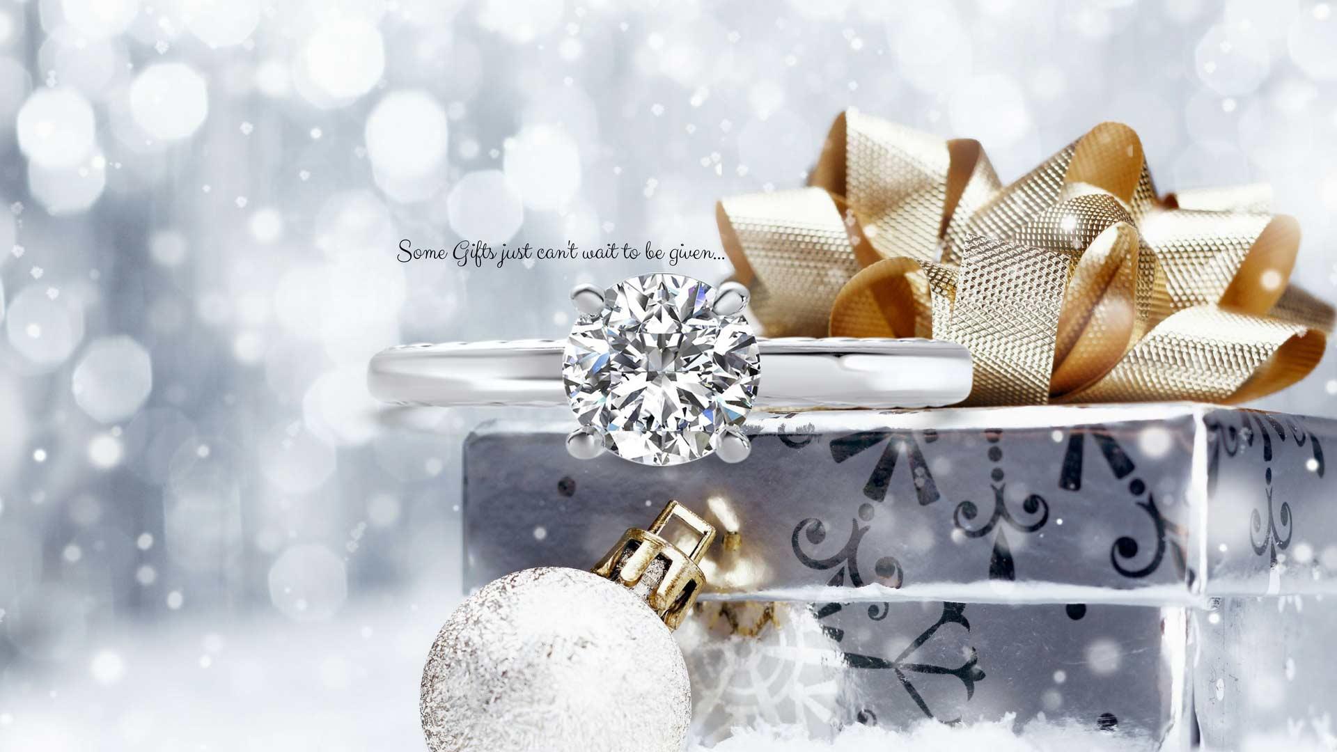 ring on xmas gift box