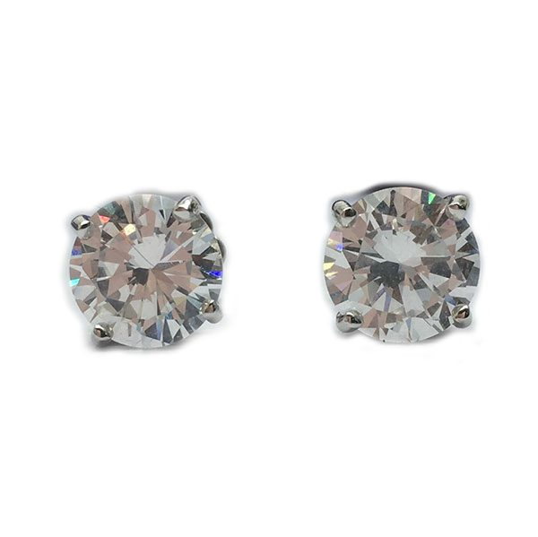 pair of brilliant cut diamond simulant (8mm) in 4 prong set stud earrings in silver with white gold plating