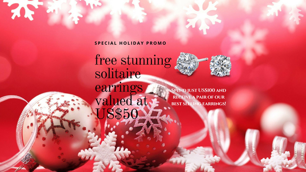 "banner promoting free gift ""free stunning solitaire earrings valued at $50"" with image of diamond stud earrings with a festive red background"