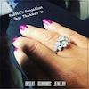 beautiful woman's hand wearing an imitation diamond ring, bubble style with 8 bezel set diamonds
