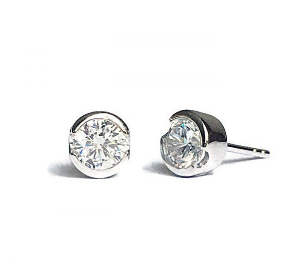 Semi-Bezel-Set-Diamond-Solitaire-Stud-Earrings-silver-white-yellow-rose-gold-plating