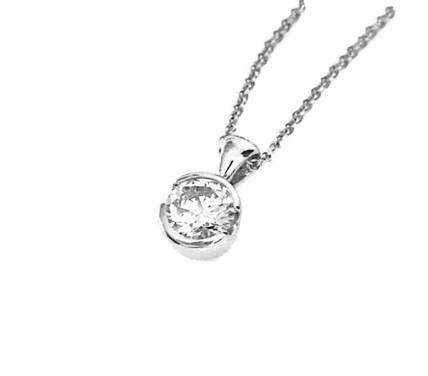 Semi-Bezel-Set-Diamond-Solitaire-Pendant-silver-white-yellow-rose-gold-plating